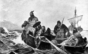 A black-and-white reproduction of a painting showing Norsemen in a ship by Oscar Wergeland (1844-1910).