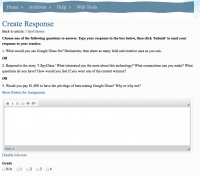 screenshot of create response
