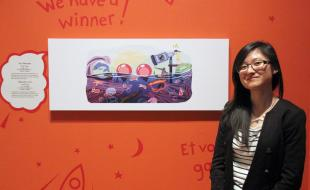 Cindy Tang, 17, winner of the Doodle 4 Google contest, poses with her work at the Royal Ontario Museum (ROM) in Toronto on Tuesday February 25, 2014. (THE CANADIAN PRESS/Angela Hennessy)