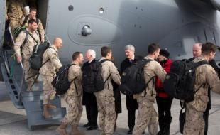 Prime Minister Stephen Harper welcomes home members of the Canadian Armed Forces returning from Canada's mission in Afghanistan on March 18, 2014. (Photo courtesy of the Prime Minister's website: http://pm.gc.ca/eng/node/35433)