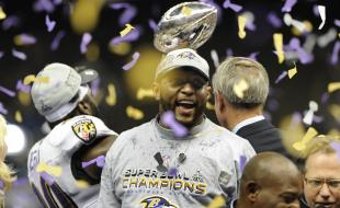 Baltimore Ravens' Ray Lewis celebrates his team's Super Bowl win, February 3, 2013. Photo by Rex Features [2005], all rights reserved.