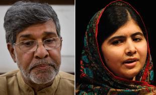 Malala Yousafzai, right, and Kailash Satyarthi address the media on October 10, 2014 after winning the Nobel Peace Prize. (AP Photo/Rui Vieira, Bernat Armangue)