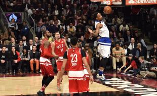DeMar DeRozan of the Toronto Raptors (10) goes up for a slam dunk during the first half of the NBA All-Star Game in Toronto on February 14, 2016. (THE CANADIAN PRESS/Mark Blinch)