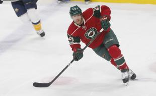 Minnesota Wild's Jason Pominville skates during the first period of an NHL hockey game against the Nashville Predators in St. Paul, Minnesota on February 17, 2017. The Wild announced on February 27 that Mr. Pominville has mumps along with other members of the team. (AP Photo/Jim Mone)