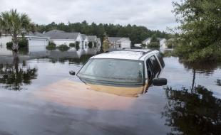 The Polo Farms neighborhood in South Carolina is largely underwater on September 24, 2018, due to Hurricane Florence. (Jason Lee/The Sun News via AP)