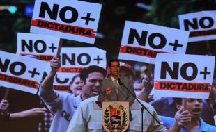 Juan Guaido speaks at the Central University of Venezuela (UCV), in Caracas, Venezuela, on February 8, 2019. (EPA/MIGUEL GUTIERREZ)