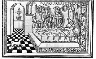 Woodcut showing a physician at the patient's bedside, taking his pulse and examining urine. [M. Silvaticus, Opus pandectarum medicine, Pavia, B. de Garaldis, 1521, title page verso.  Image via Wikimedia Commons.]