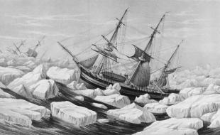 An undated illustration shows Sir John Franklin's ships, the HMS Erebus and the HMS Terror.