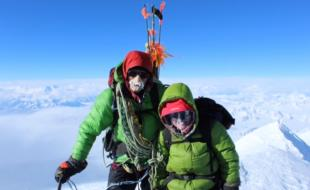 Naomi Prohaska with her father at the summit of Mount Logan.
